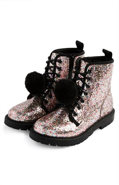 Younger Girls Pink 90s Glitter Boots