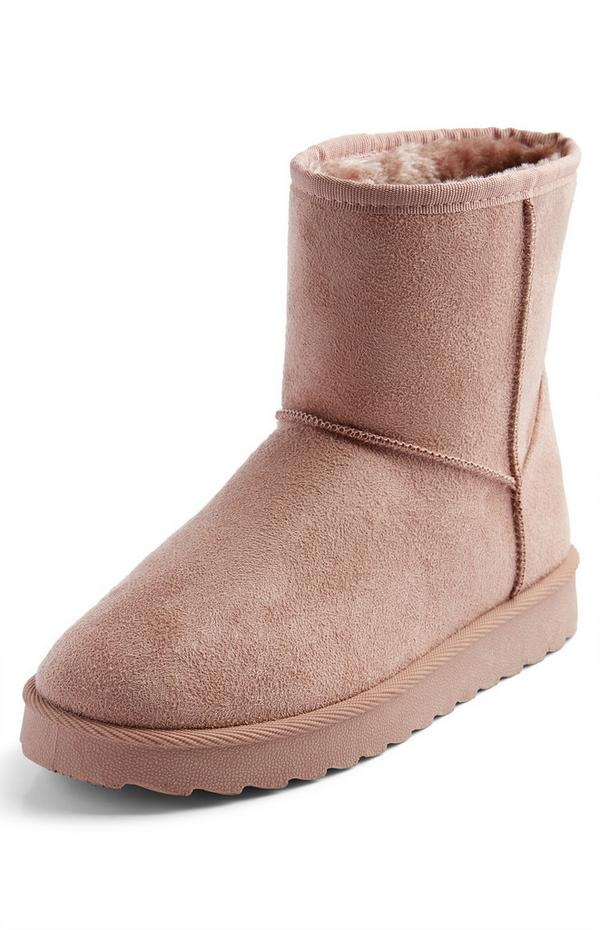 Blush Pink Faux Suede Boots