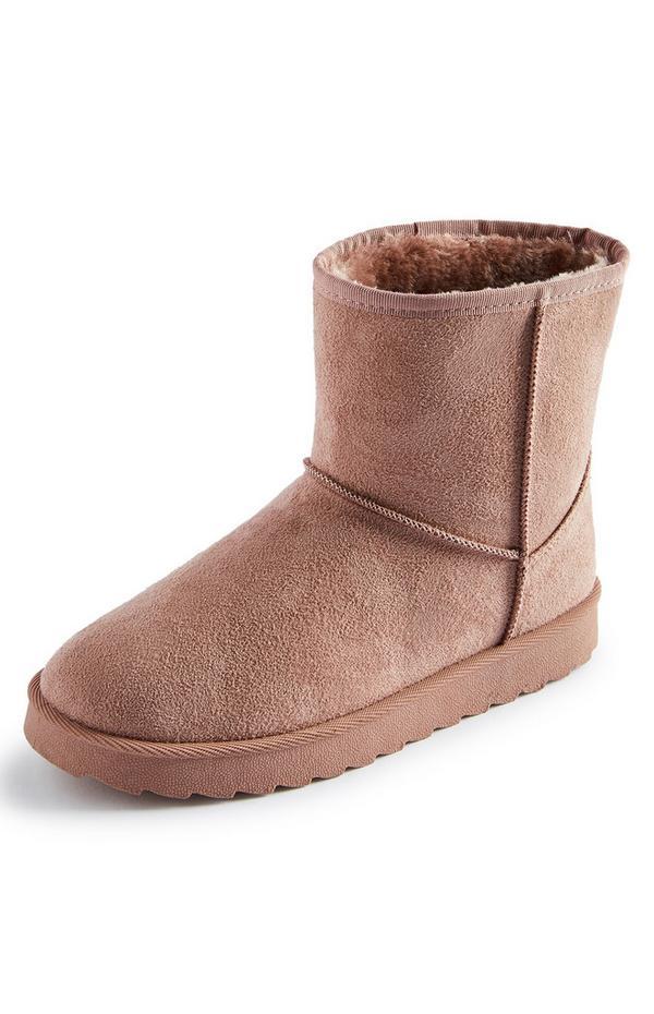 Blush Faux Suede Faux Fur Lined Boot