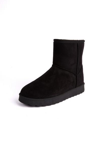 Schwarze Stiefel in Wildleder-Optik
