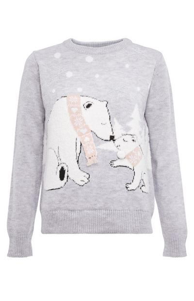 Pull fantaisie ours polaire