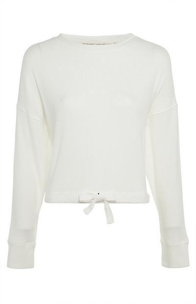 Ivory Skinny Rib Crew Neck Sweater