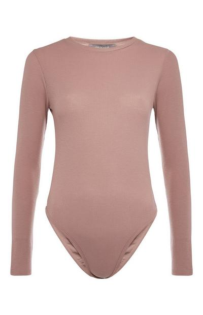 Mauve Long Sleeve Ribbed Bodysuit