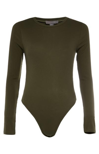 Khaki Long Sleeve Ribbed Bodysuit