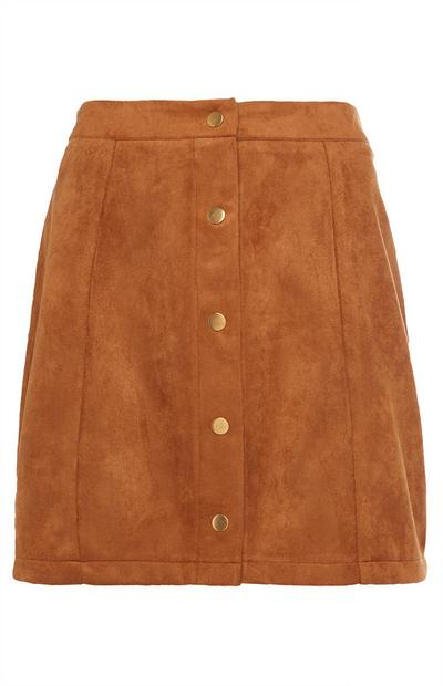 Brown Suede Mini Skirt