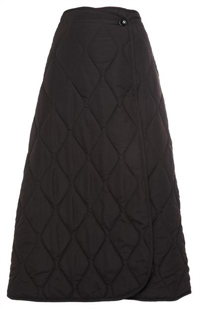 Black Quilt Midi Wrap Skirt