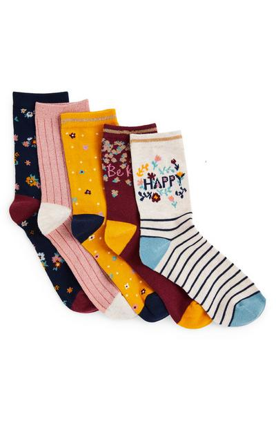 5-Pack Girls' Floral Ankle Socks