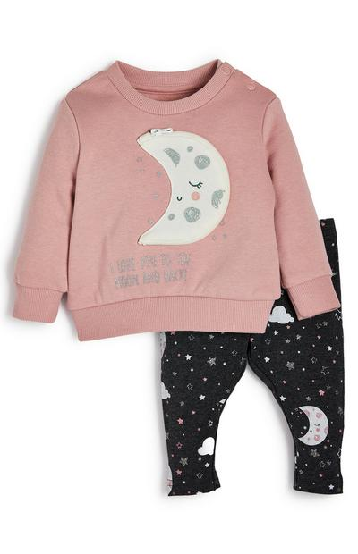 Baby Girl Pink Moon Crew Neck Sweater And Leggings