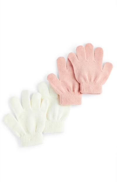 Girls Pink And White Magic Gloves
