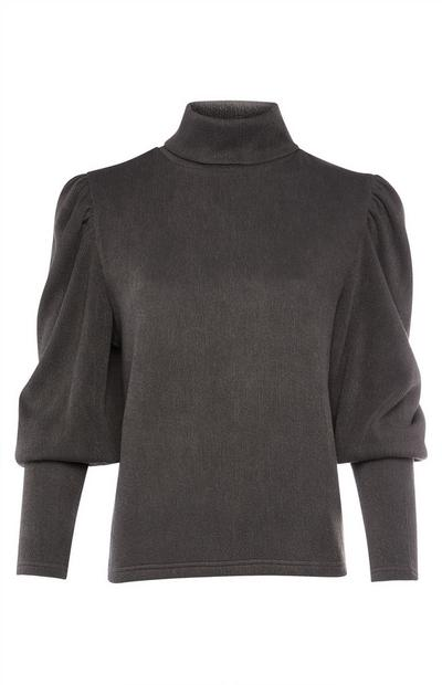 Grey Long Sleeve Balloon Roll Neck Top
