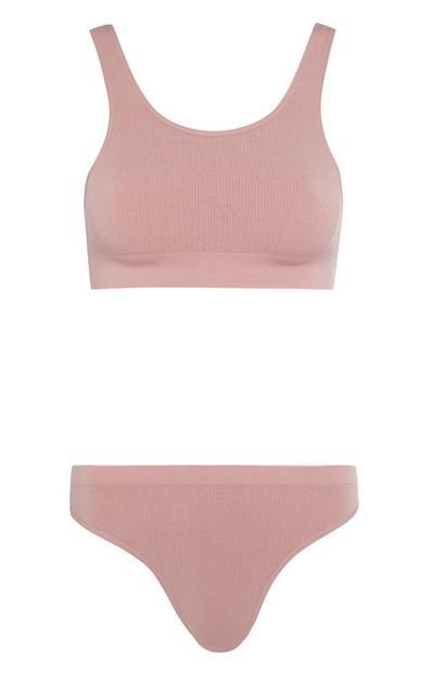 Conjunto cuecas/sutiã sem costuras rosa-pálido