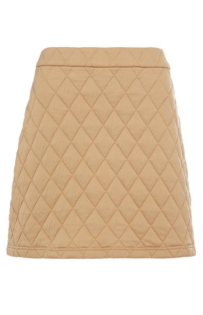Beige Jersey Quilted Mini Skirt