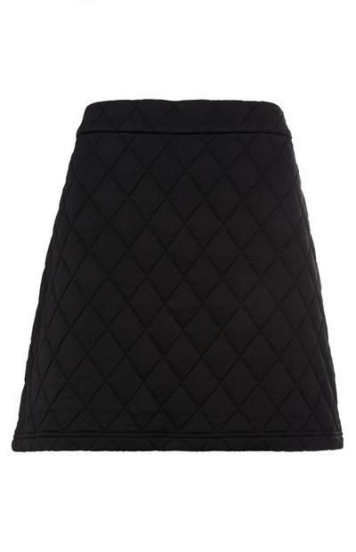 Black Jersey Quilted Mini Skirt