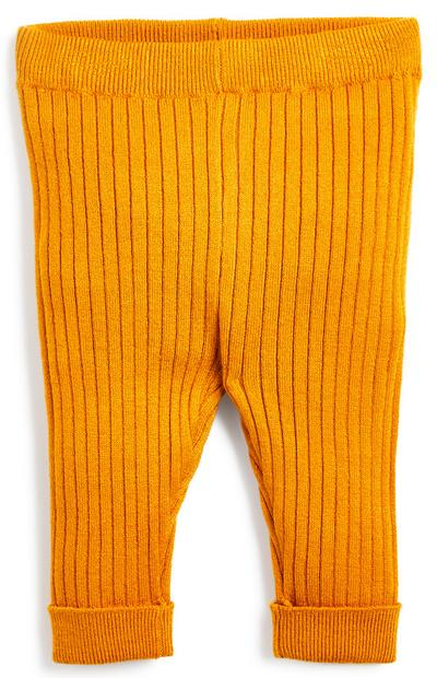 Baby Boy Mustard Knitted Rib Leggings