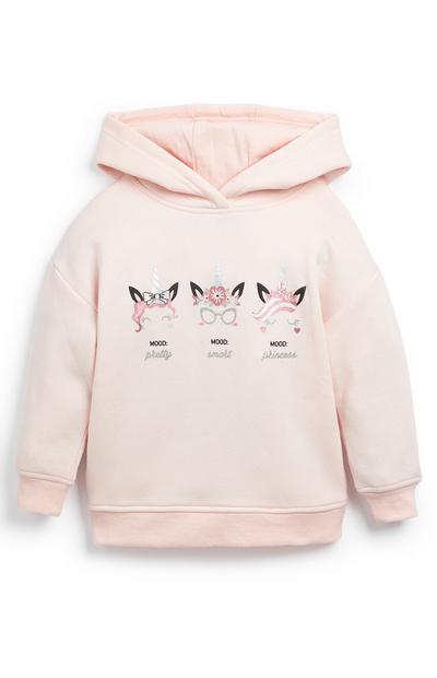 Younger Girl Pink Unicorn Moods Hoodie