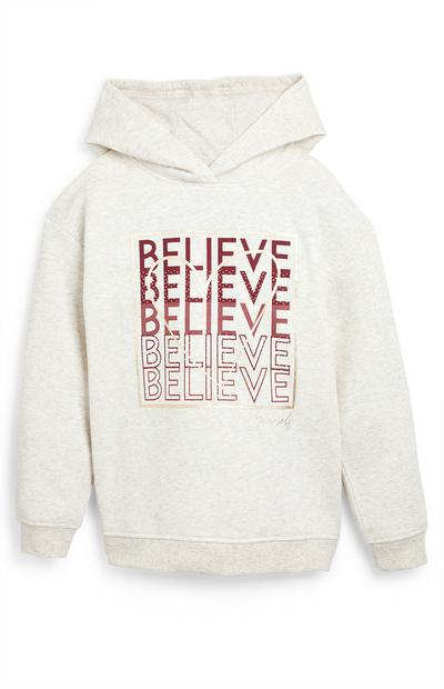 Older Girl White and Pink Believe Hoodie