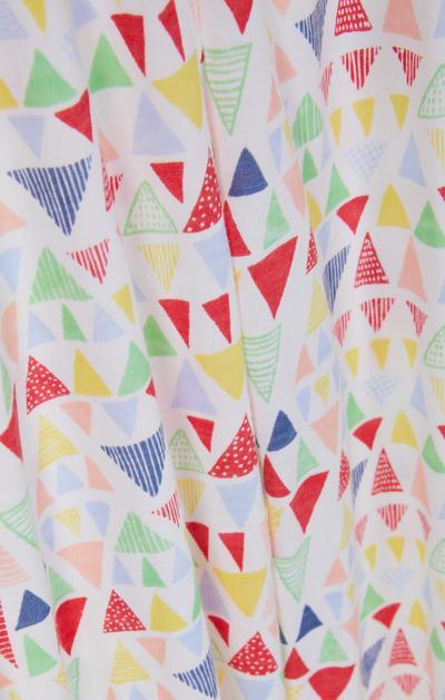 Yellow And White Geometric Print Pyjama T-Shirt And Trousers