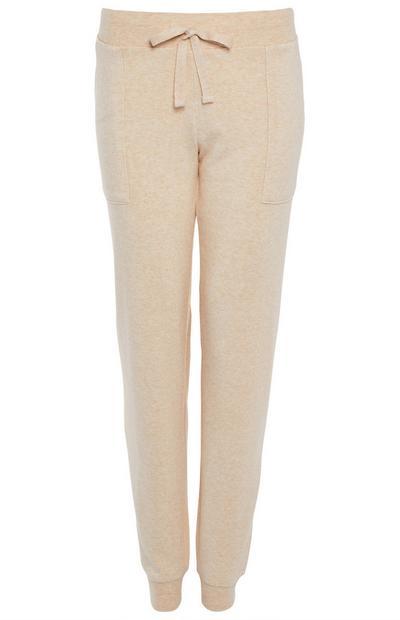 Leggings de pijama beis con tobillos elásticos