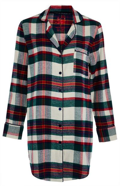 Green and Red Woven Check Nightshirt