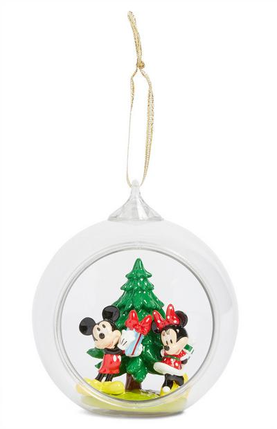 Mickey And Minnie Glass Ornament