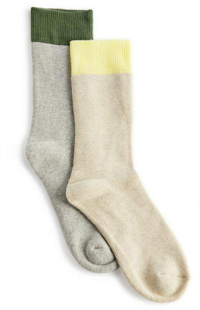 Green And Yellow Thermal Crew Socks 2 Pack