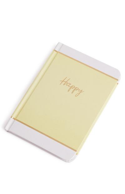 Bloco notas slogan Happy amarelo