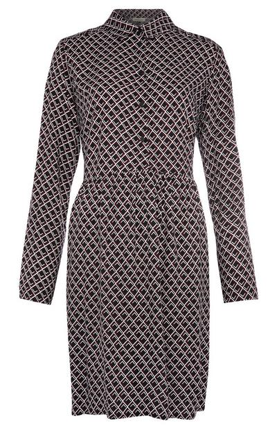 Black Pattern Long Sleeve Shirt Dress