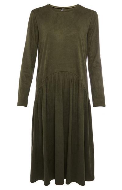Kaki rebrasta srednje dolga nabrana obleka
