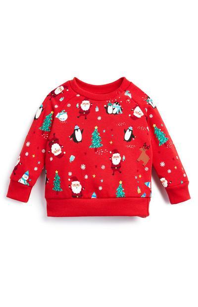 Red Baby Girl Christmas Jumper