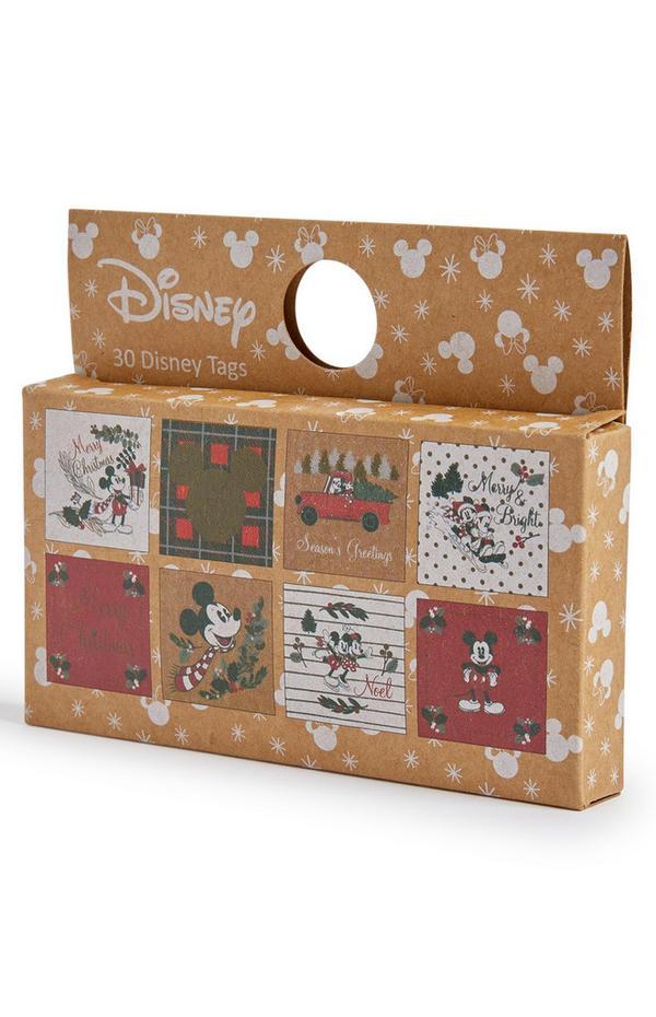 Pack de 30 etiquetas de regalo navideñas de Mickey y Minnie