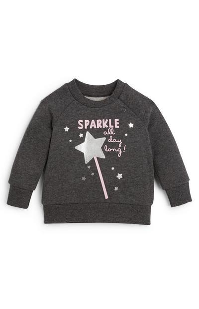Baby Girl Gray Crew Neck Sweatshirt