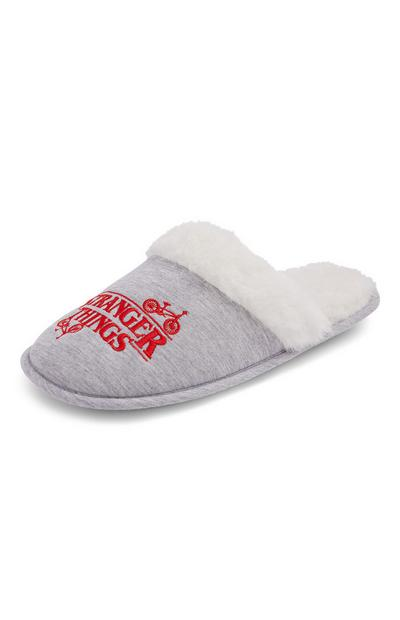 Grey Stranger Things Slippers