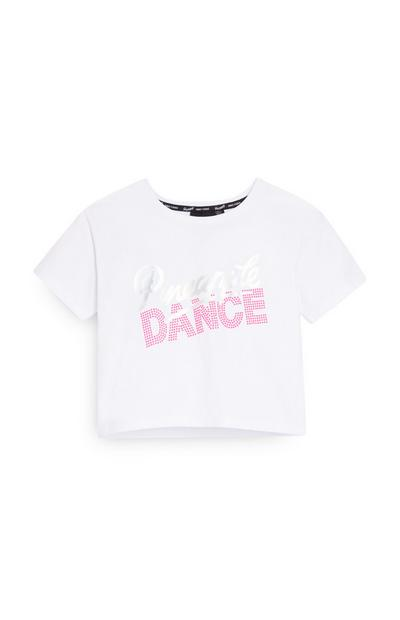 "Bauchfreies ""Pineapple"" T-Shirt in Weiß (Teeny Girls)"