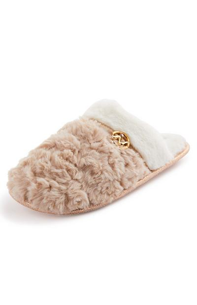 Fluffy Metal Detail Mule Slippers