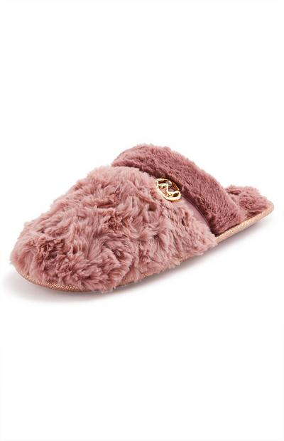 Fluffy Pink Metal Detail Mule Slippers
