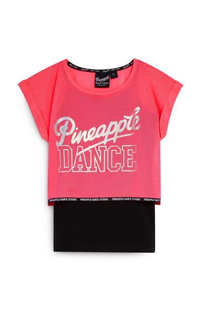 Older Girls Pink and Black Pineapple 2-In-2 T-Shirt