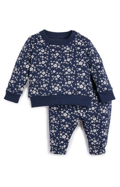 Joggers blu navy con motivo floreale da bimba