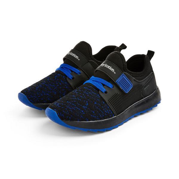 Older Boy Black PlayStation-Themed Sneakers