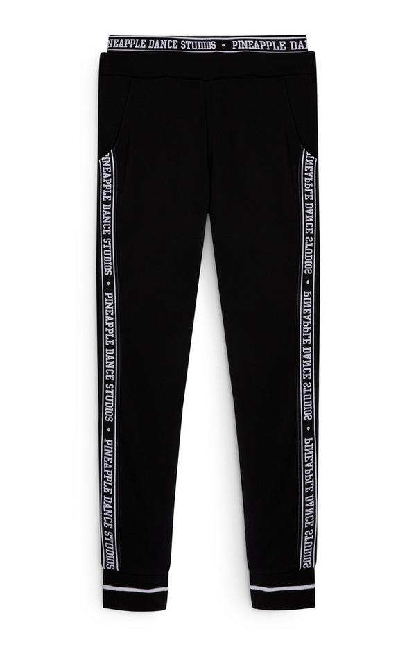 Older Girl Pink and Black Pineapple Joggers