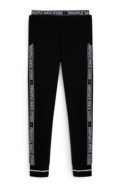 Older Girls Pink and Black Pineapple Joggers