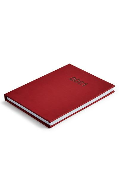Deep Red Faux Leather 2021 Diary