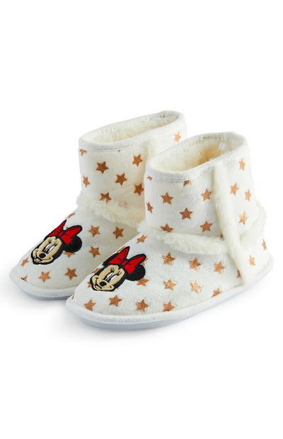 Older Girls White Disney Minnie Mouse Bootie Slippers