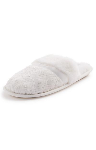 White Beaded Detail Mule Slippers