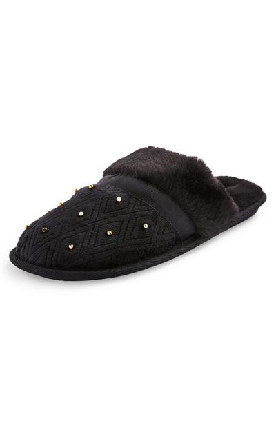 Black Beaded Detail Mule Slippers