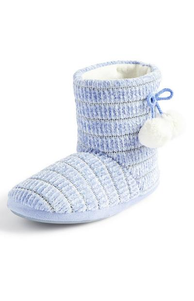 Blue Chenile Pom Boot Slippers
