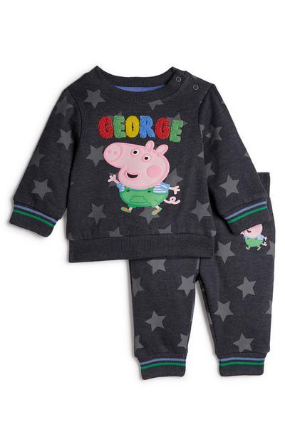 Donkergrijze babyjoggingset Peppa Pig George, jongens