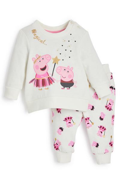 Sportief wit setje Peppa Pig voor baby's (meisje)
