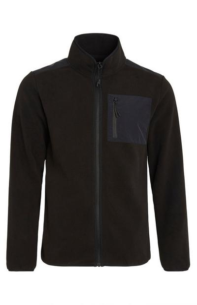 Black Zip Up Fleece Pocket Jacket