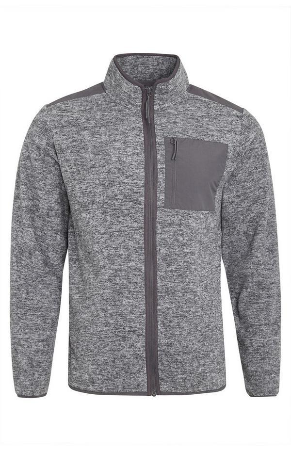 Siva jakna iz flisa z zadrgo in žepom