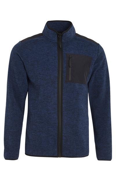 Donkerblauw jack van fleece met rits en zak